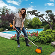 WORX 2x20, 40V, Trimmer/Edger has 13 in. cutting swath and adjustable handle to fit users' posture.