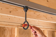 "Rockler Ceiling Track attachments include a 1-1/2"" inside-diameter ring hook that fits power cords and air hoses."