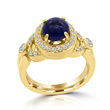 Blue Cabochon Sapphire Ring by Elizabeth Eliner eDiamonds and Design. Blue Sapphire, Diamonds, and 18K Yellow Gold
