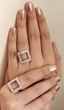 See Through Ring by Callista by Vinita. Cubic Zirconias and Brass with 18K Plated White Gold Finish.