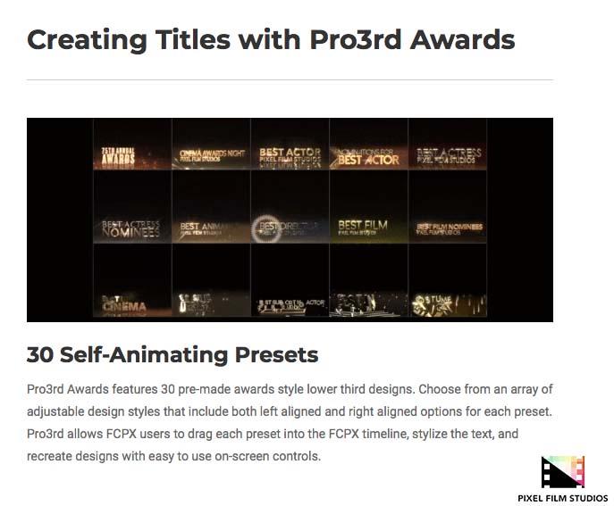 Pixel Film Studios Releases Pro3rd Awards for Final Cut Pro X