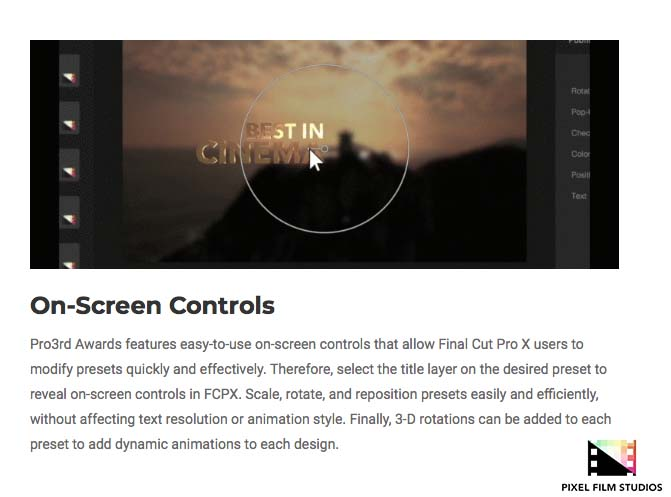 Pixel Film Studios Releases Pro3rd Awards for Final Cut Pro