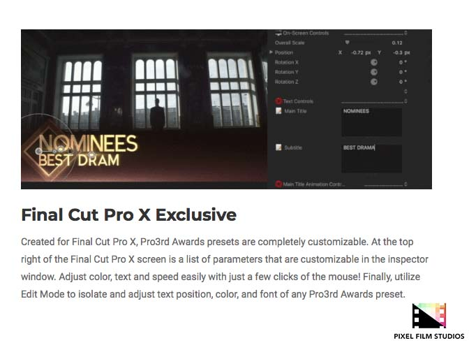 Pixel Film Studios Releases Pro3rd Awards for Final Cut Pro X