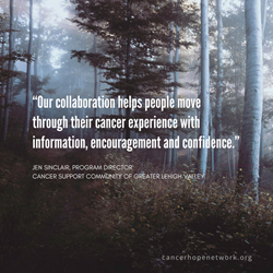 Our collaboration helps people move through their cancer experience with information, encouragement and confidence.