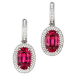 Red Spinel Earrings by Jeffrey Bilgore. Two 8.87 tcw. red spinels, and diamonds, set in platinum