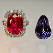 Red Spinel Ring by Jeffrey Bilgore with Antique Pear Shape Violet Spinel by Jeffrey Bilgore. 10.19 ct. Red Spinel with 70 diamonds, set in platinum, with a 10ct. violet spinel