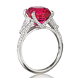 Red Spinel Ring by Jeffrey Bilgore. 8.63 oval red spinel, with diamonds, set in platinum