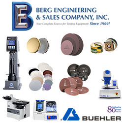 Berg Engineering launches sale of Buehler consumables including sectioning, mounting, grinding/polishing and hardness test blocks.