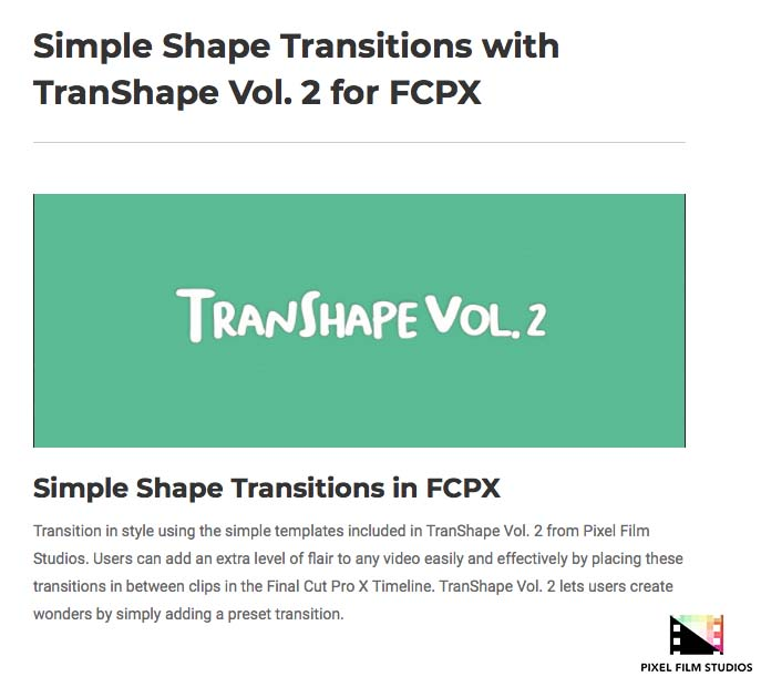 Pixel Film Studios Unveils TranShape Volume 2 for Final Cut