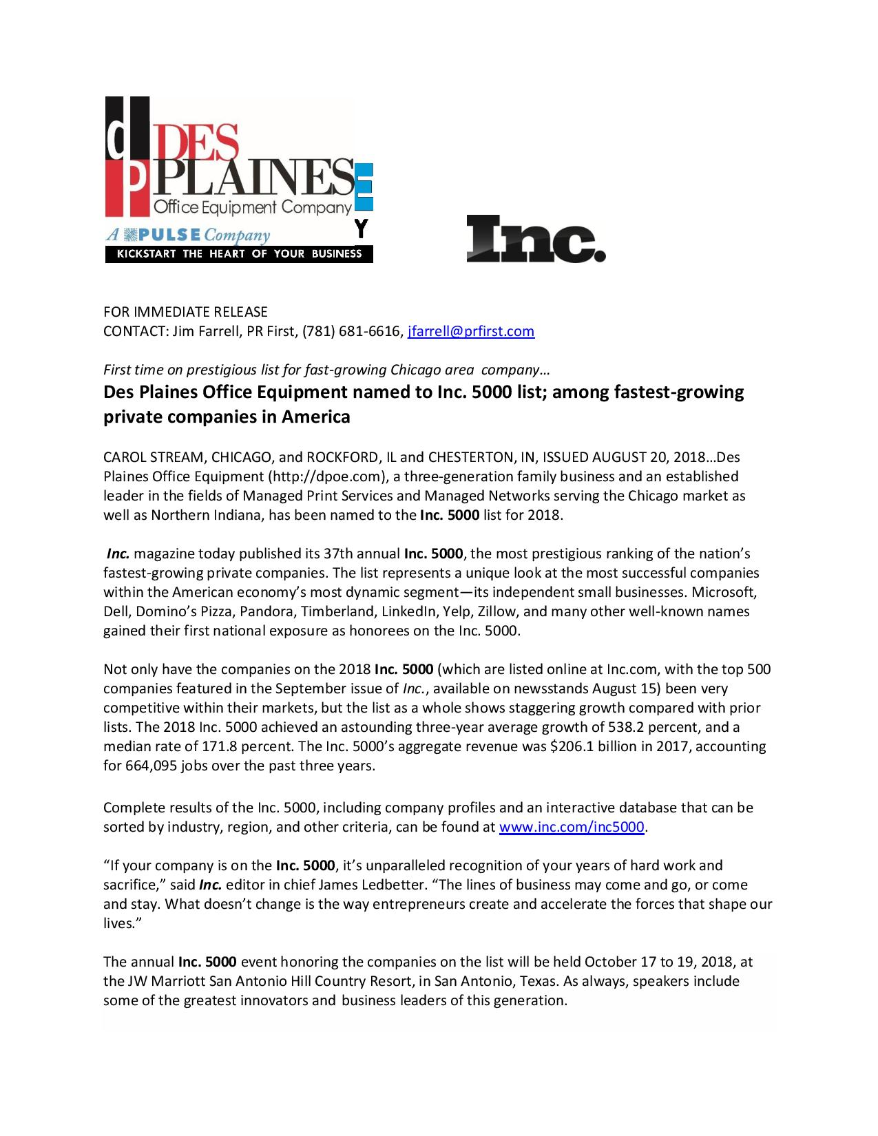 Des Plaines Office Equipment Named To Inc 5000 List Among Fastest Growing Private Companies In America
