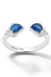 Rival II Sapphire Two-Stone Ring by Valani Atelier. Sapphire, Diamonds, and 18K White Gold.