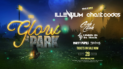 Glow In The Park logo with fireflies and artist names for the event