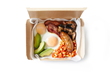 The full English breakfast box is packed with bacon, sausage, poached eggs, avocado, saucy beans and roasted mushrooms.