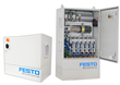 The Festo Motion Control Package control cabinet arrives fully wired and ready to be installed. This image shows the Full Edition cabinet that houses up to six drives. The Festo Motion Control Package