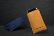 Fused Suede Case— navy with light blue interior; camel with ash interior