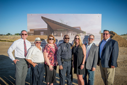 Firestone Mayor, Bobbi Sindelar and Police Chief, David Montgomery with Board of Trustees at Firestone Police Headquarters groundbreaking event
