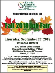 FNU Job Fair Flyer, Sept 17, 2018