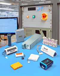 FDA and IEC 62133 compliant self-aware smart battery packs and high-voltage packs are offered.