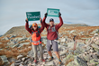 L.L.Bean employees Meghan Pike and Nicholas Butler celebrate their completion of the final section of the L.L.Bean Appalachian Trail Relay.