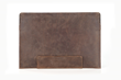 The Leather Sleeve — distressed, full-grain, chocolate leather