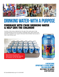 Fundraising with CW4K canned drinking water - your alternative to the usual candy bar or cookie fundraiser- raises money+gives back to society