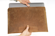 Vero Leather Sleeve — leather grip to ease laptop removal