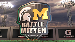 A 3D rendering of the Battle for the Mitten logo is shown digging into the ground in a stadium with Gatorade shown on the stadium walls.