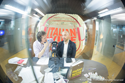 Monty Waldin and Joe Bastianich recording the Italian Wine Podcast
