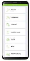 Delivery, Field Service, Inventory, Purchase Order, Rental, Retail, and Ticket Validation are the 7 apps in KOAMTACON to power your business