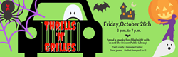 Green Background with Car, Spider, Spider Web, Ghost, Haunted House, Bat, Zombie and Pumpkin Cartoon Graphics with Thrills 'N' Grilles Text and Event Details