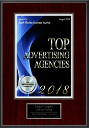 Diaz & Cooper South Florida Business Journal Top Advertising Agencies Award