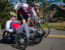 The non-competitive ride includes both adaptive and able-bodied athletes who pedal together, providing assistance and friendship along the way. Photo: Tony Granata for World TEAM.