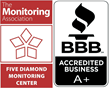 5 Diamond Designated Monitoring Station and BBB A+ Accredited Logos