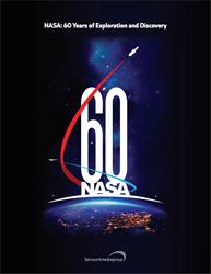 Cover features NASA's 60th-anniversary logo created by NASA graphic artist Matthew Skeins. the logo depicts how NASA is building on its historic past to soar toward a challenging and inspiring future.