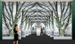 "A WRJ Design rendering shows how Jenkins will use trompe l'oeil referencing Mrs. Mellon's gardens as a dramatic corridor to Schlumberger jewelry displays for the ""Jewels of the Imagination"" exhibit."