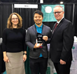 Triple W Wins Innovative HME Retail Product Award. L to R: HomeCare Magazine Editor, Liz Carey; Atsushi Nakanishi, President and CEO for Triple W; and Medtrade Group Show Director Kevin Gaffney.