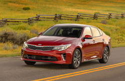 Front View of 2018 Kia Optima in Remington Red.