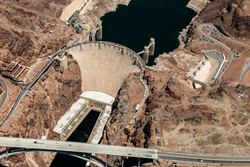 An aerial view of Hoover Dam on the Colorado River.