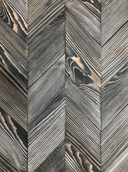 Pioneer Millworks will share LEED eligible, made in the USA products such as their Shou Sugi Ban Color Char, shown here in a Chevron pattern.