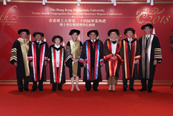 The Chief Executive of HKSAR Mrs Carrie LAM (4th from left), PolyU Council Chairman Mr T C CHAN (left), PolyU President Professor Timothy W. TONG (right) and the five Honorary Doctorate recipients.