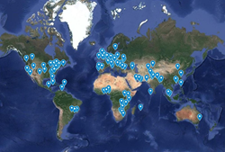 Map of Global Ethics Day locations