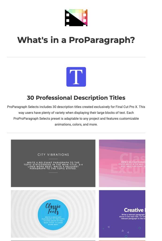 Pixel Film Studios Announces ProParagraph Selects for Final Cut Pro X