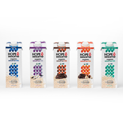 Packed with 8 grams of protein per serving, Hope & Sesame's  organic line of sesamemilks include five delicious flavors – chocolate, vanilla, original, unsweetened original and chocolate hazelnut.