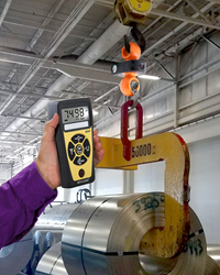 Dual-shackle dynamometer that has a 5 ton/100,000 lbs. capacity, is battery operated, and includes a wireless remote hand-held indicator.