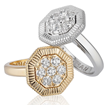 Octanight rings in 18K white and yellow gold with diamonds