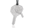 Double Key Day & Night necklace in 18K white gold with diamonds for men