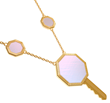 Day & Night Key necklace in 18K yellow gold with diamonds and mother of pearl