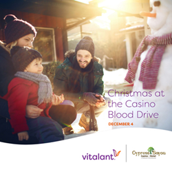 Vitalant and Cypress Bayou Casino Hotel partner to host Christmas at the Casino Blood Drive.