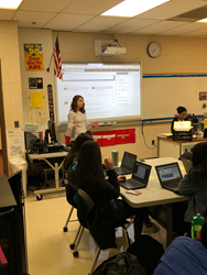 Melaina Jaeger, Career Services Manager at Employment BOOST, presents LinkedIn Profile tips to students at Athens High School in Troy, MI