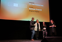Engine Digital team accepting award for best UX for Marketing